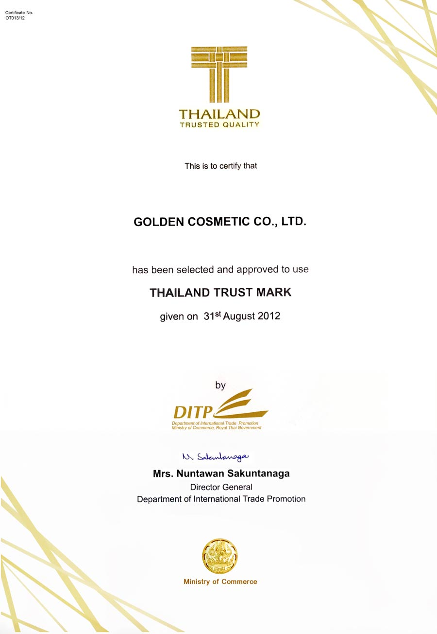 Golden cosmetic company limited 2007 gmp certification from fda of the public health ministry 2011 received iso 90012008ukas certified from sgs xflitez Images